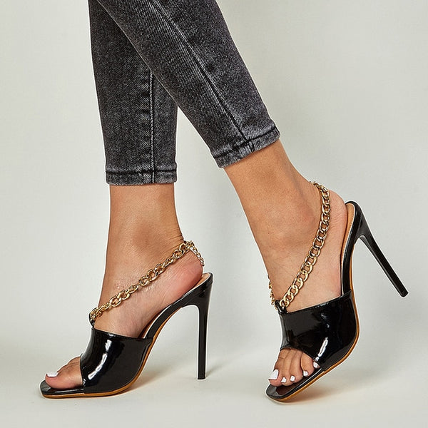 Black Ankle Chain Stiletto Sandals - Trendo Chic