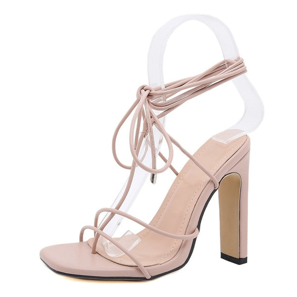Beige Square Toe Lace-up Sandals - Trendo Chic