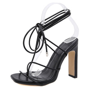 Black Square Toe Lace-up Sandals - Trendo Chic