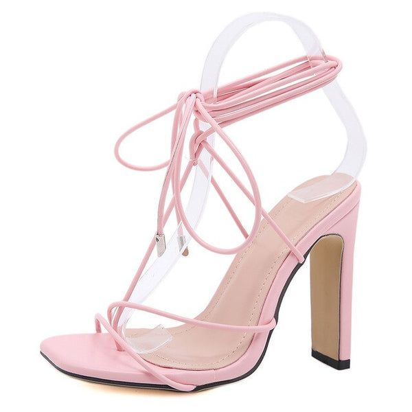 Pink Square Toe Lace-up Sandals - Trendo Chic