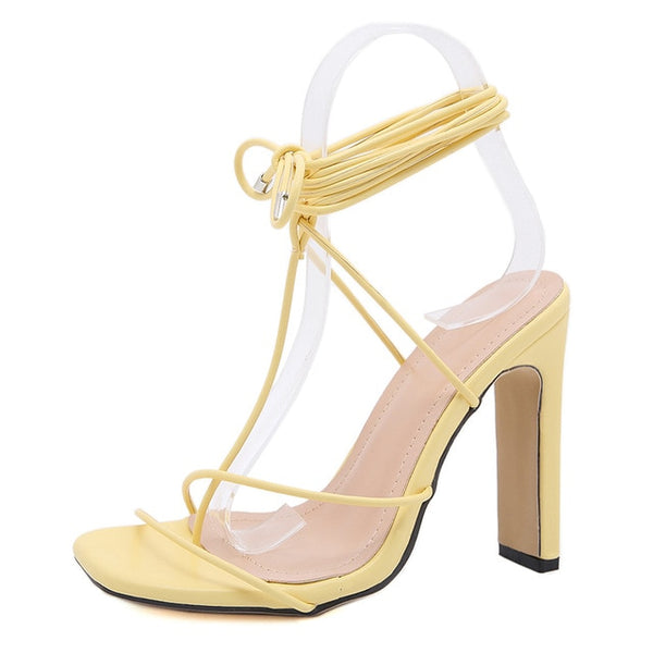 Yellow Square Toe Lace-up Sandals - Trendo Chic
