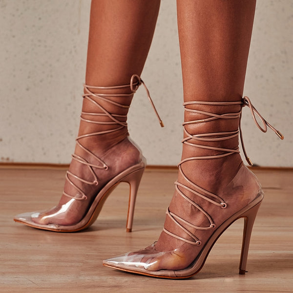 Nude Lace-up Pointed Toe Sandals - Trendo Chic