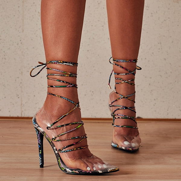 Black Lace-up Pointed Toe Sandals - Trendo Chic