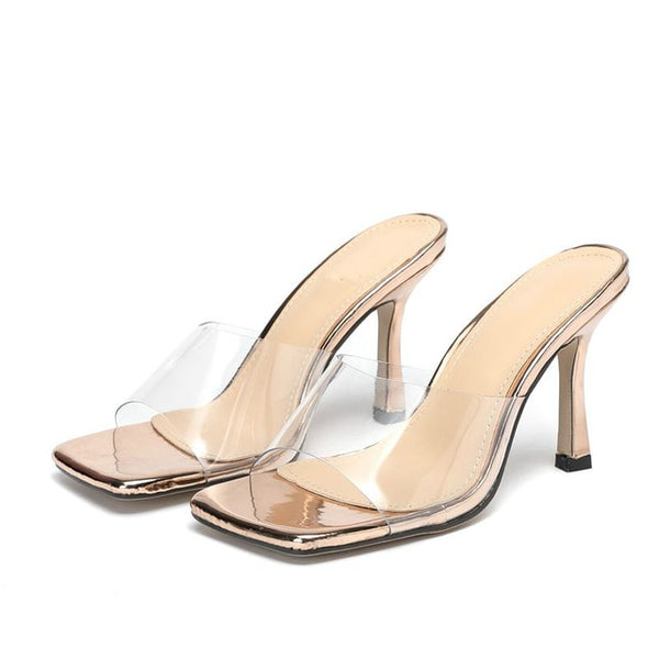 Gold Square Toe Sandals - Trendo Chic