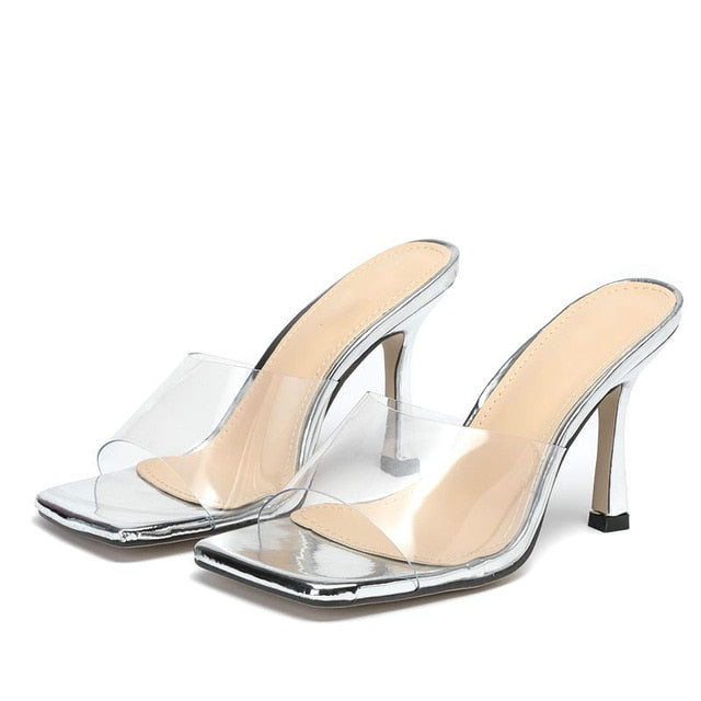 Silver Square Toe Sandals - Trendo Chic