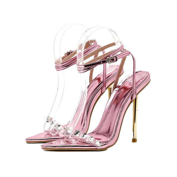 Pink Rhinestone Pointed Toe Sandals - Trendo Chic