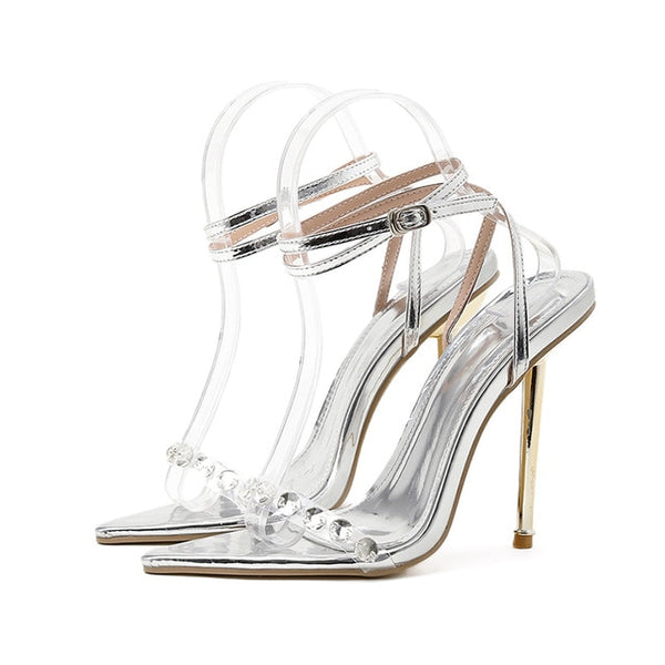 Silver Rhinestone Pointed Toe Sandals - Trendo Chic