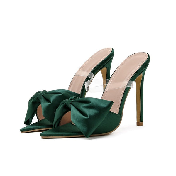Green Bowtie High Heel Sandals - Trendo Chic