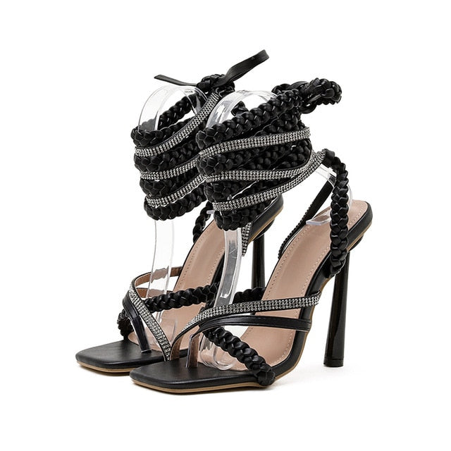 Black Rhinestone Lace-up Sandals - Trendo Chic
