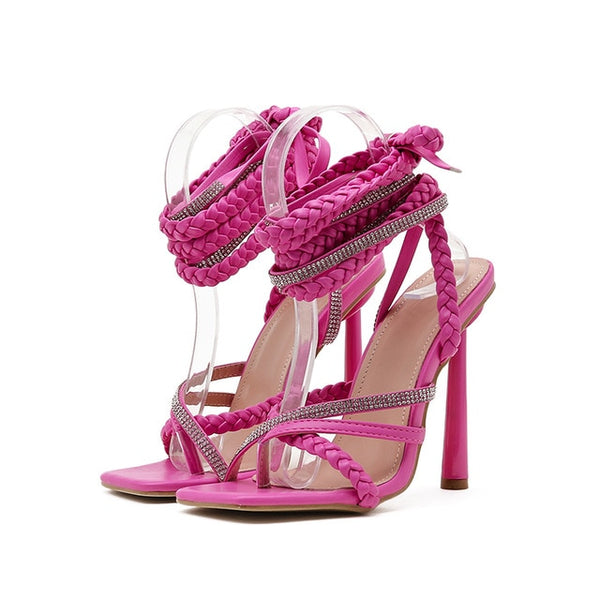 Pink Rhinestone Lace-up Sandals - Trendo Chic