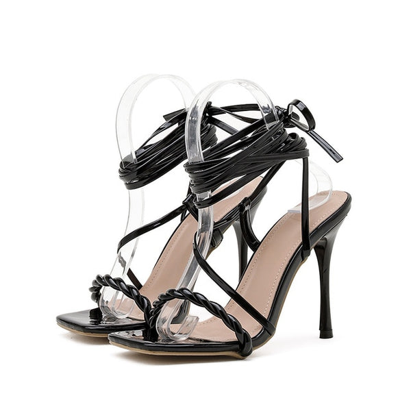 Black Lace-up Sandals - Trendo Chic