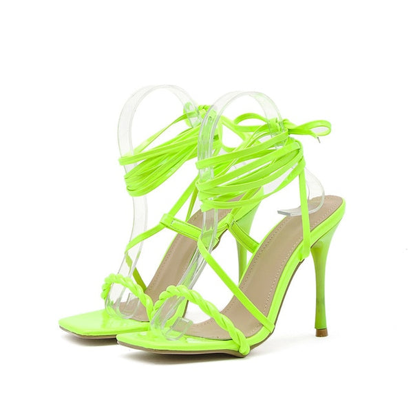 Green Lace-up Sandals - Trendo Chic