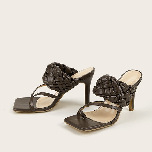 Chocolate Quilted Square Toe Sandals - Trendo Chic