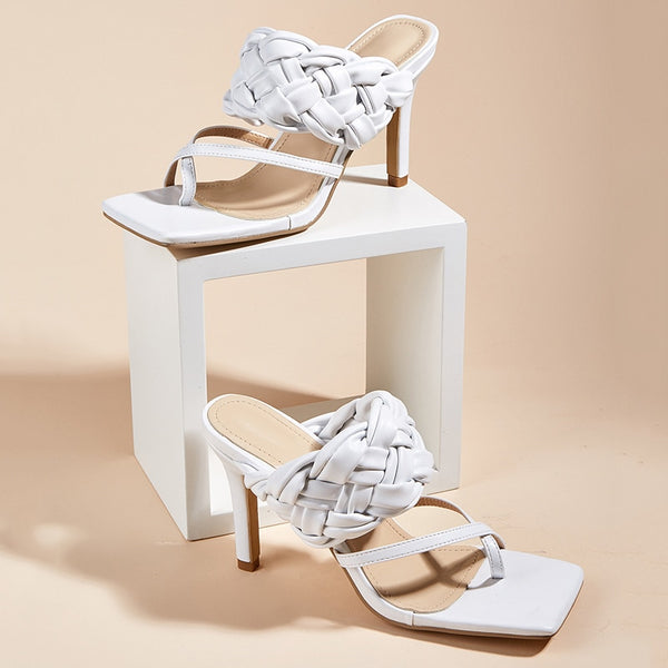 White Quilted Square Toe Sandals - Trendo Chic
