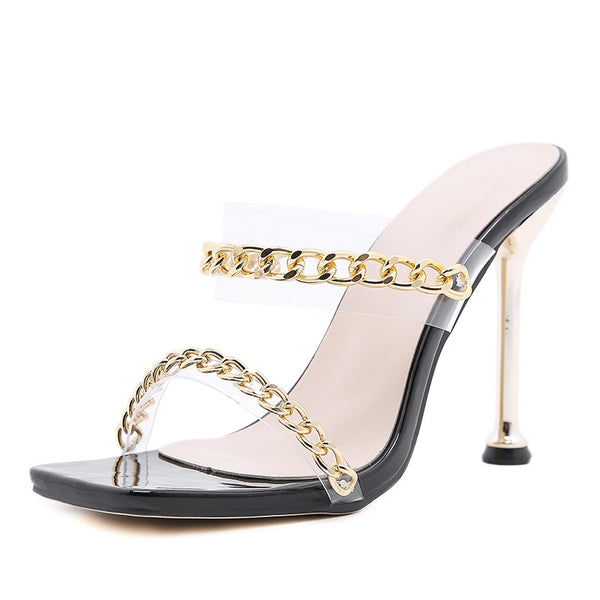 Black Chain Detail Metal Heel Sandals - Trendo Chic