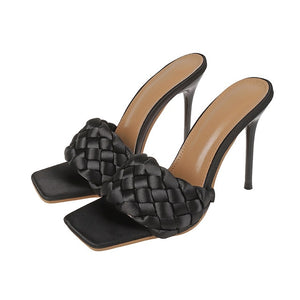 Black Quilted High Heel Mule - Trendo Chic