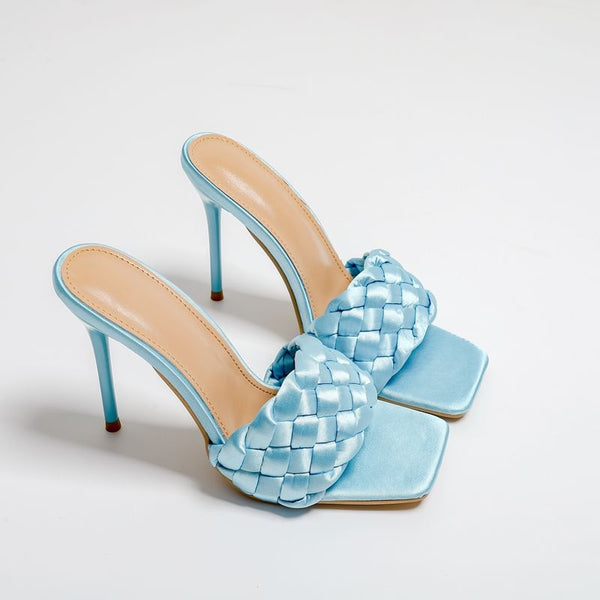 Light Blue Quilted High Heel Mule - Trendo Chic