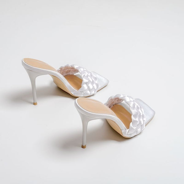 White Quilted High Heel Mule - Trendo Chic
