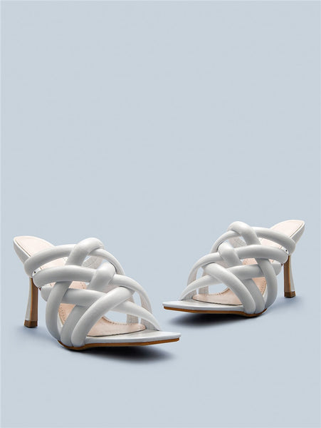 White Square Toe Sandals - Trendo Chic