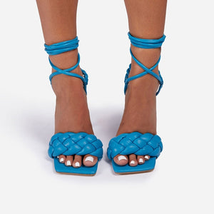 Blue Quilted Lace-up Heels - Trendo Chic