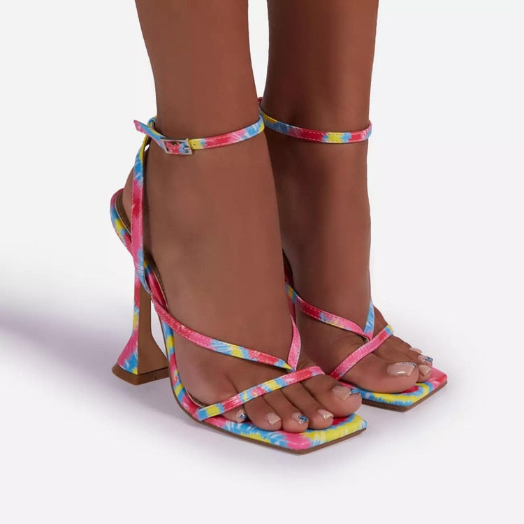 Multicolored Ankle Strap Heels - Trendo Chic