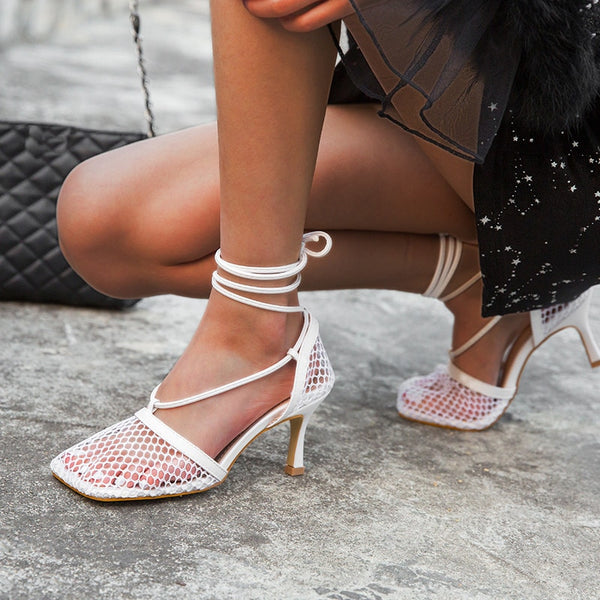 White Mesh Lace-up Heels - Trendo Chic