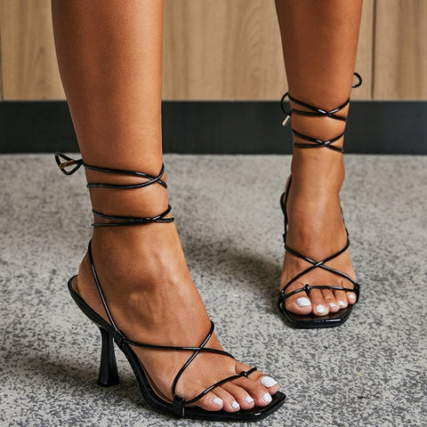 Black Lace-up Heels - Trendo Chic