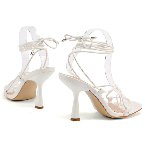 White Lace-up Heels - Trendo Chic