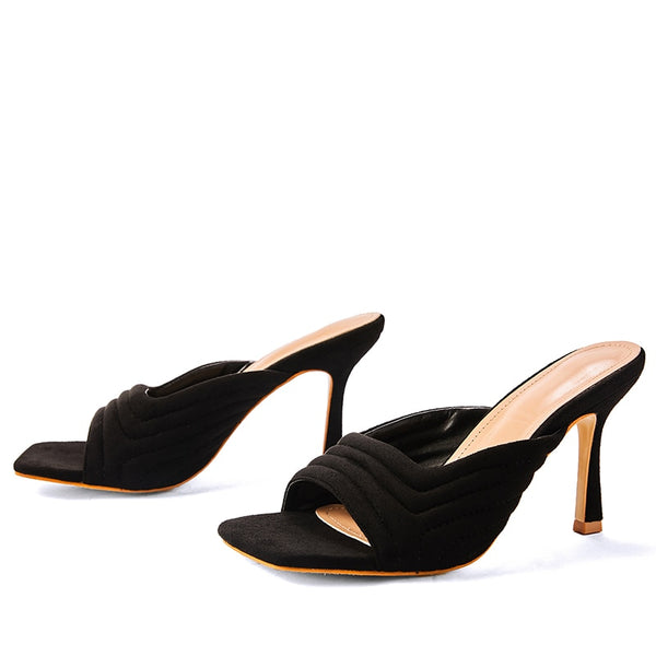 Black Square Toe Heels - Trendo Chic