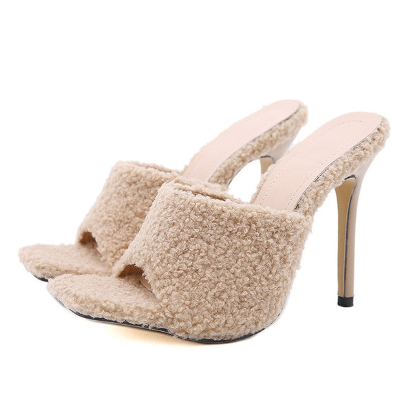 Beige Faux Fur Square Toe High Heels - Trendo Chic