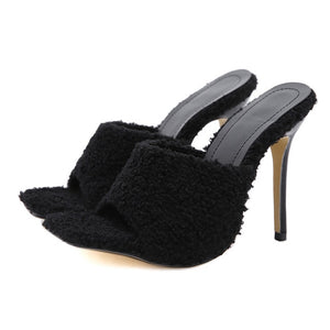 Black Faux Fur Square Toe High Heels - Trendo Chic