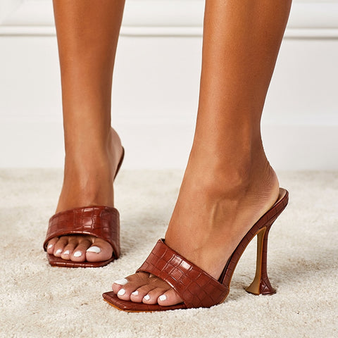 Brown Square Toe Heels - Trendo Chic