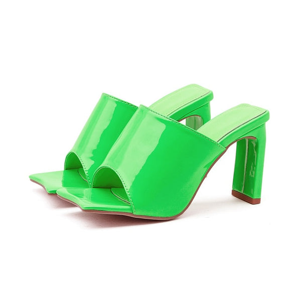 Green Thin Block Mule - Trendo Chic