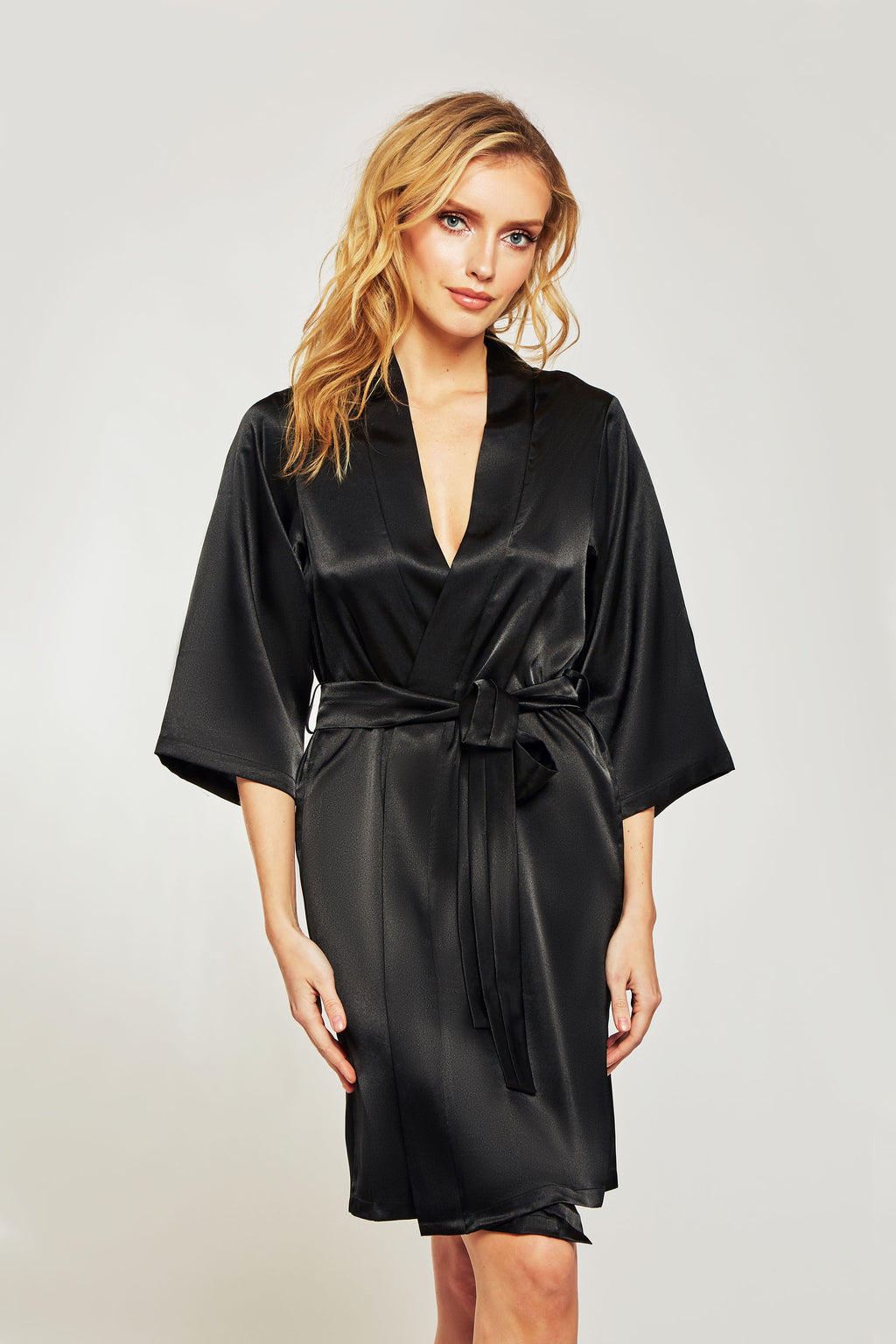 Satin robe with removable tie.