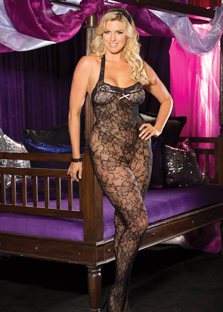 Stretch lace open back bodystocking.