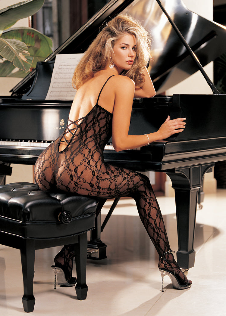 Beautiful lace bodystocking with criss cross back.