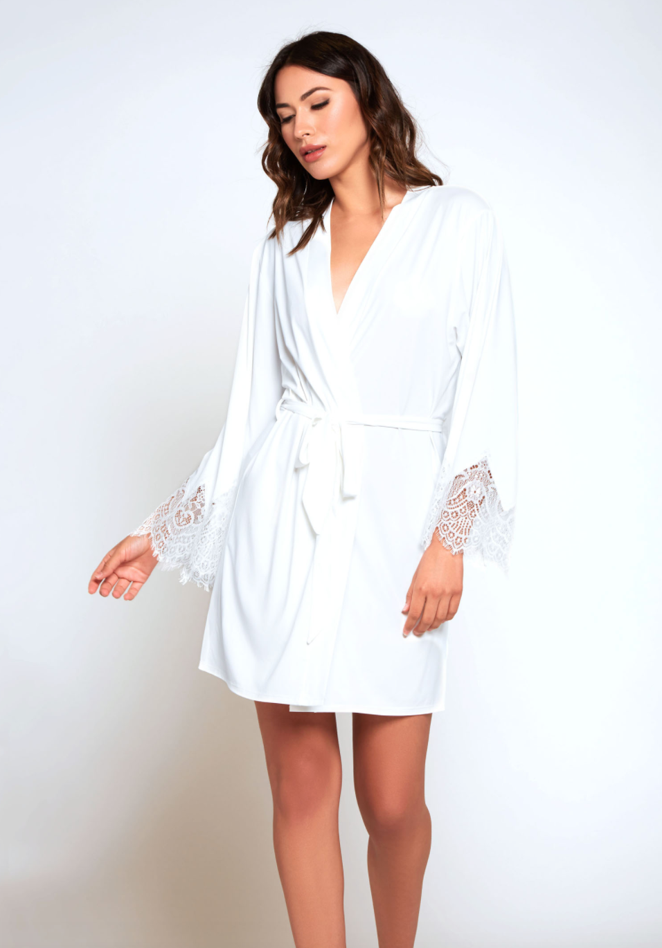 Soft lycra stretch robe with triangle lace detail and removable waist tie.