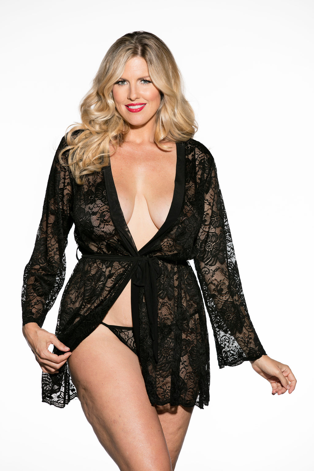Stretch lace robe with knit trim collar, tie belt and comes with stretch lace g-string.