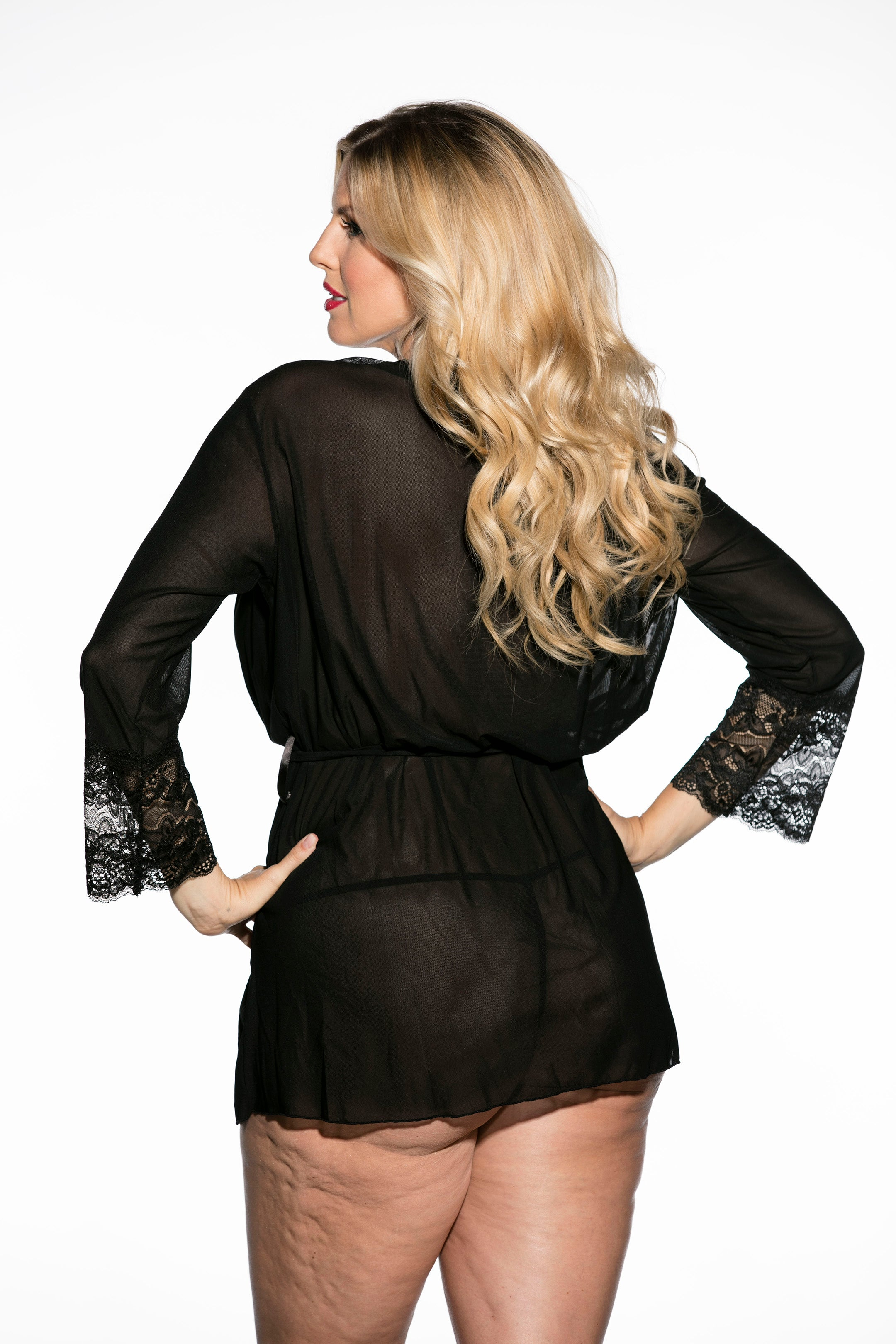 Chiffon stretch knit and stretch lace robe with tie belt and matching g-string.