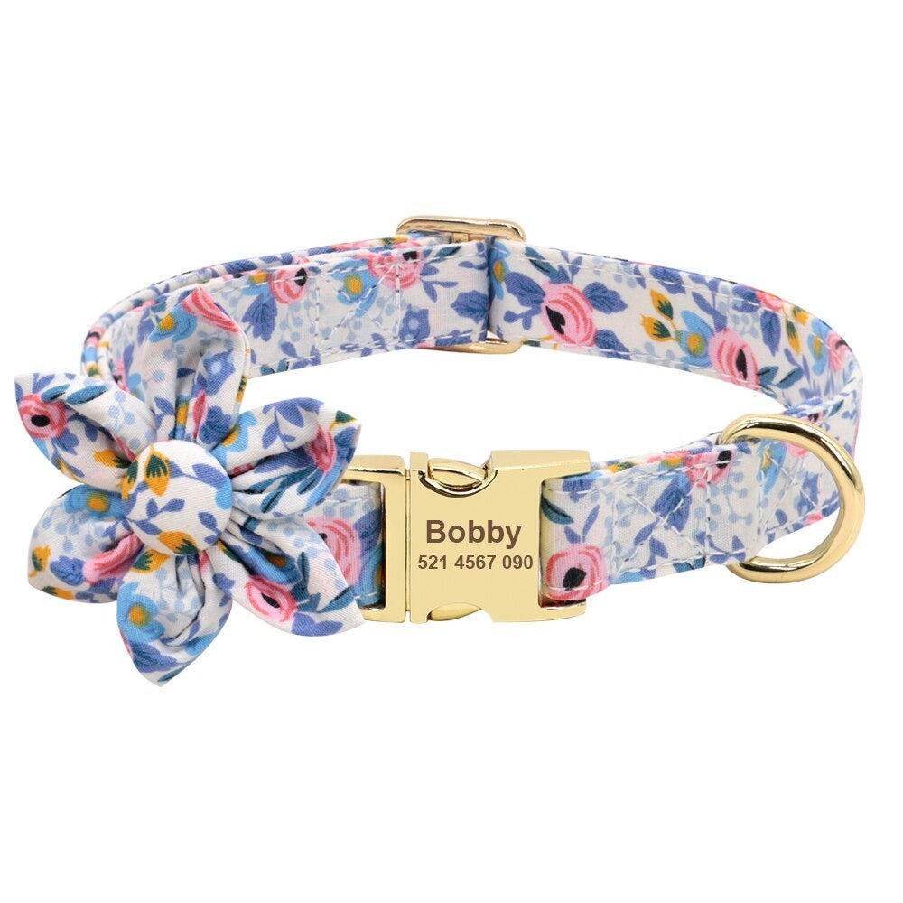Bowtie Blue Floscular Pet Collar
