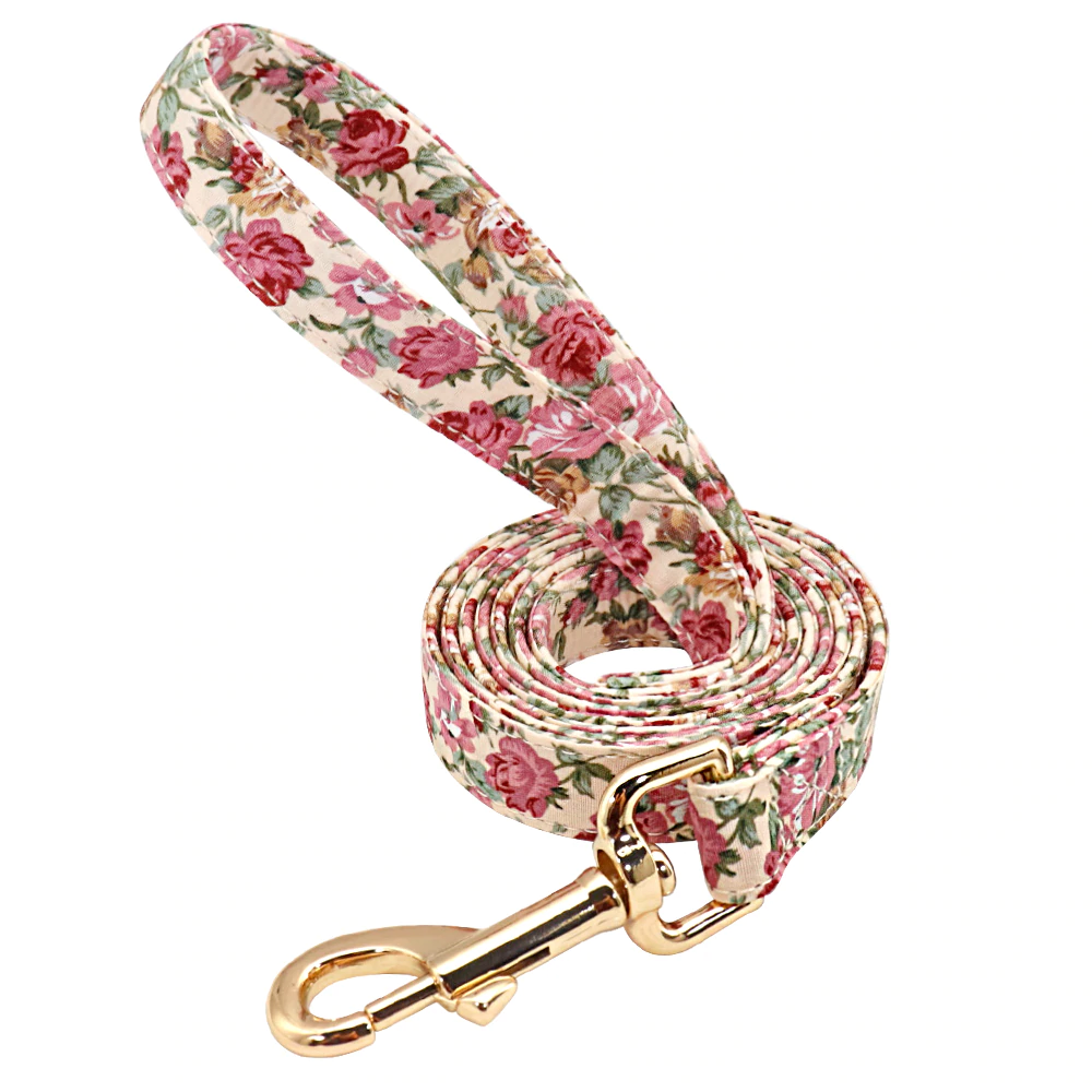 Beige Floscular Dog Leash