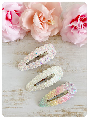 Three Large 7.5cm Snap Clips - White/Pink/Rainbow Glitter