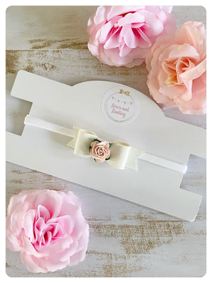 White Faux Leather Rose Mini Bow Band