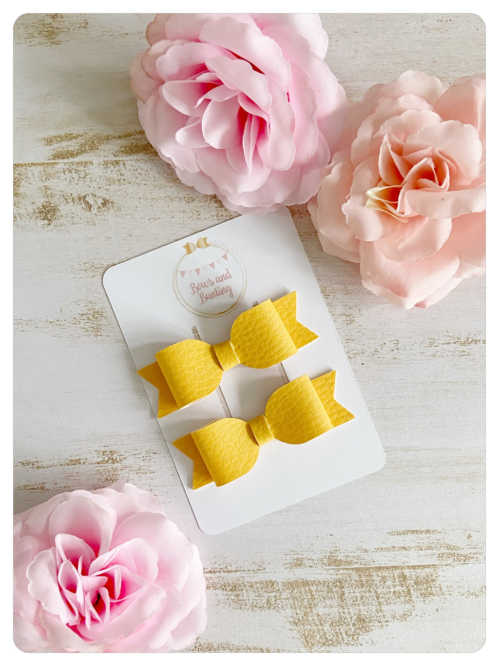 Yellow Faux Leather Mini Pigtail Bows