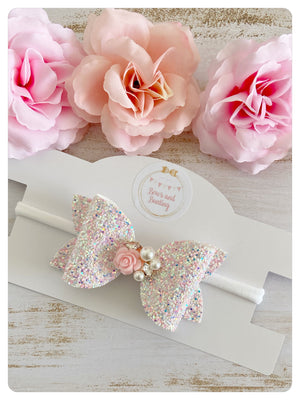 "Large 3.5"" Pink & White Glitter & Flower Charm Bow Band"