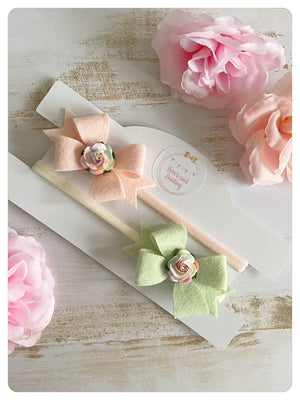 Set of Two Felt Flower Bow Bands -  Light Pink & Green