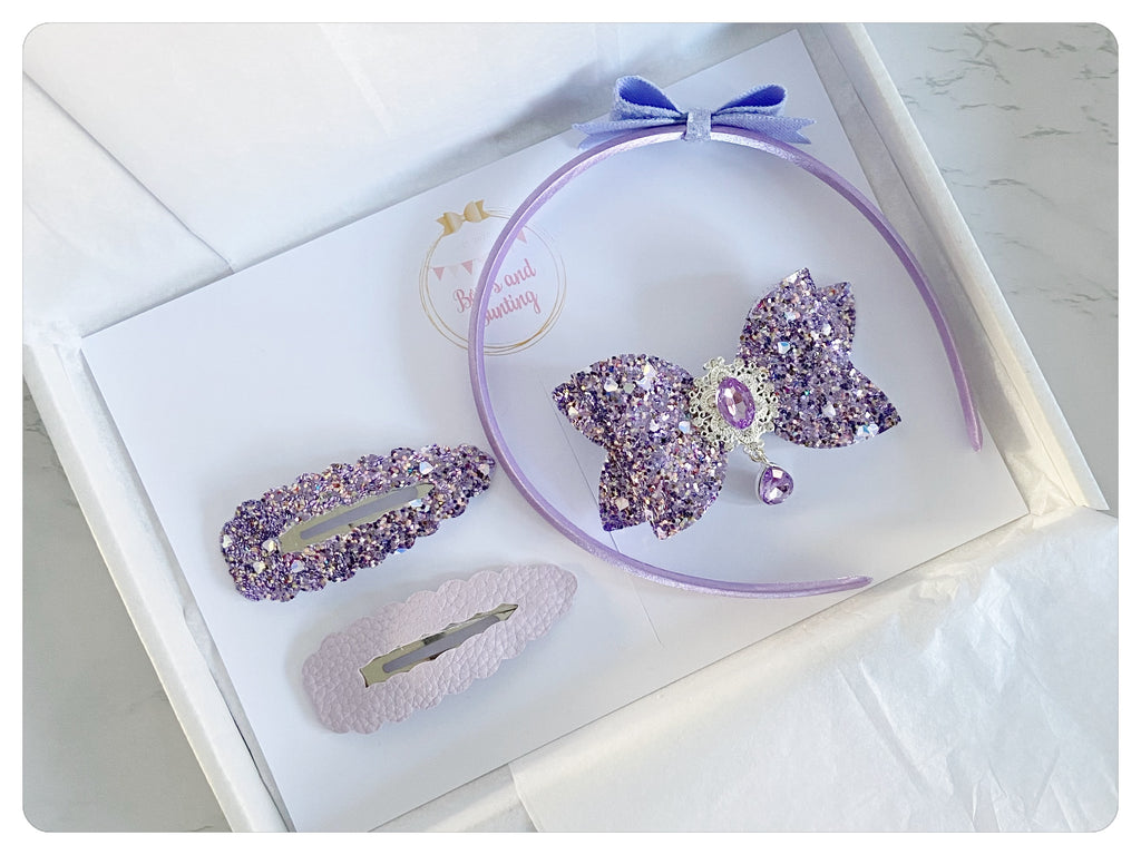"Large 3.5"" Bow, Two 7.5cm Snap Clips & Headband Gift Set - Glitter & Sparkle"