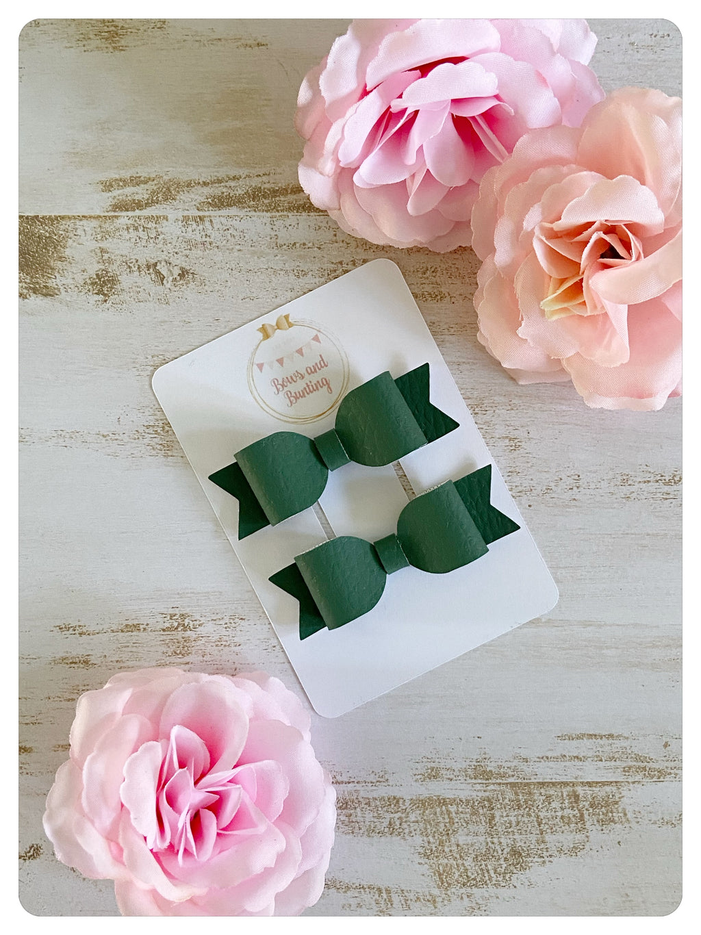 Green Faux Leather Mini Pigtail Bows