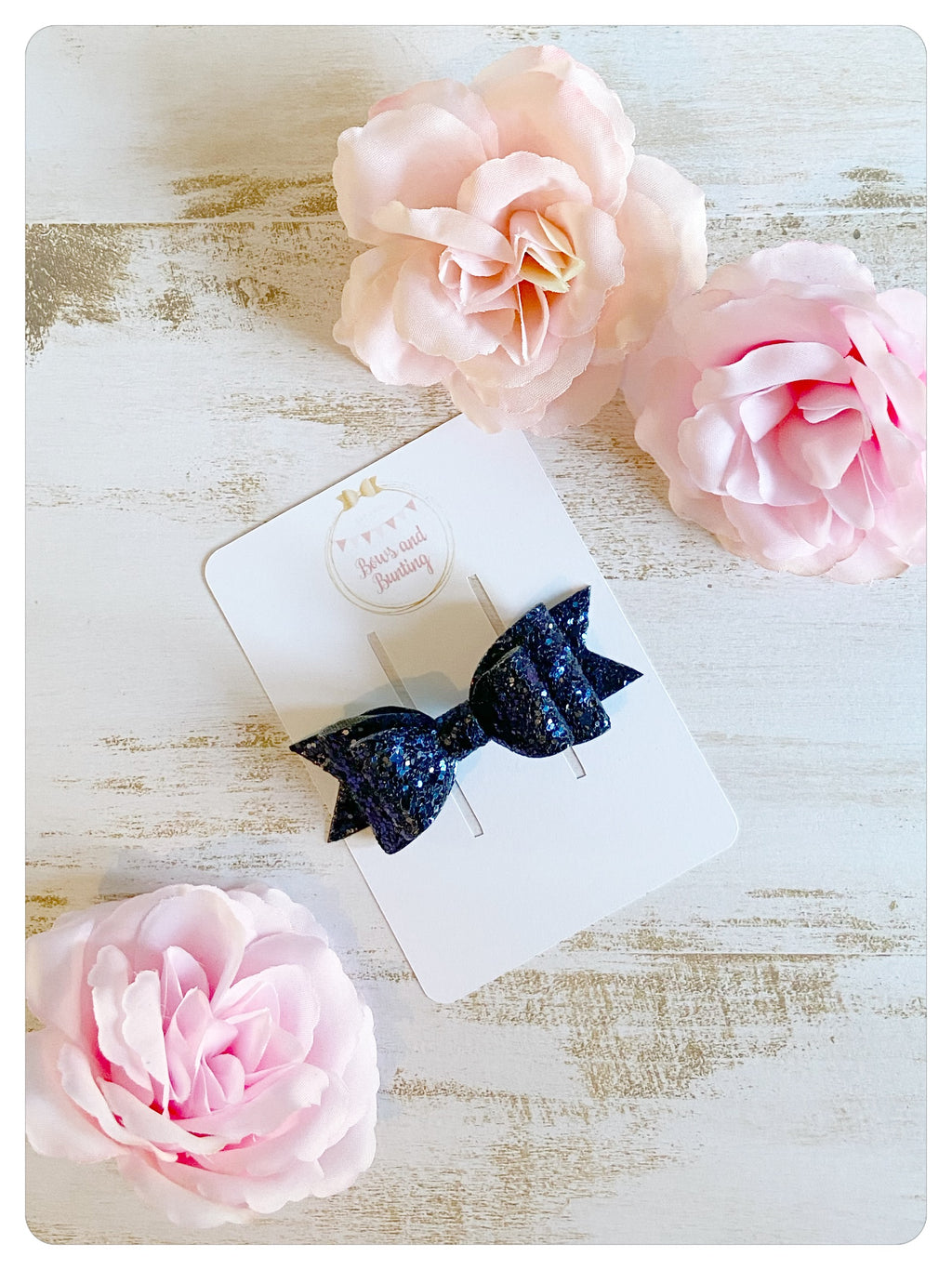 Small Navy Glitter Bow
