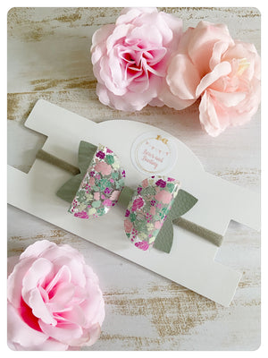 "Large 3.5"" Transparent Floral Pale Green Bow Band"